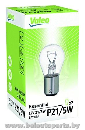 Комплект ламп накаливания 2шт P21/5W 12V 21/5W BAY15d Essential стандартные характеристики VALEO 32107